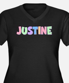 Justine Rainbow Pastel Women's Plus Size V-Neck Da