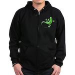 Green Gecko Zip Hoodie (dark)
