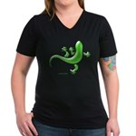Green Gecko Women's V-Neck Dark T-Shirt