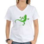 Green Gecko Women's V-Neck T-Shirt