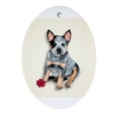 Unique Red australian cattle dog christmas Ornament (Oval)