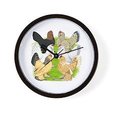 Six DUccle Hens Wall Clock