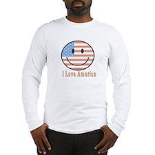 Smiley Face I Love America Long Sleeve T-Shirt