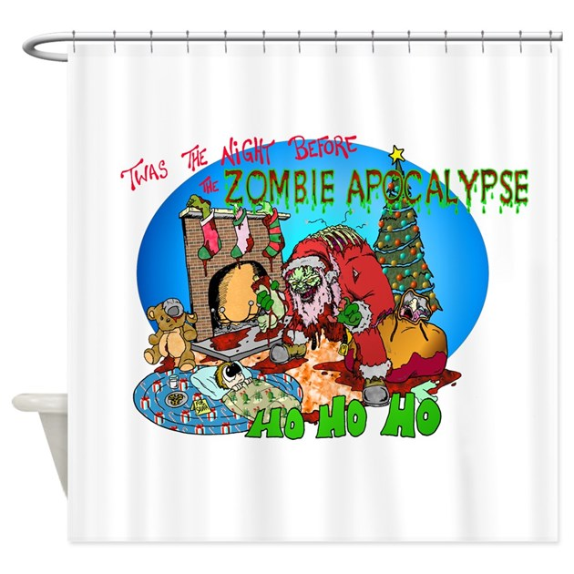 Twas the night before zombie shower curtain by skree ations for Zombie bathroom decor