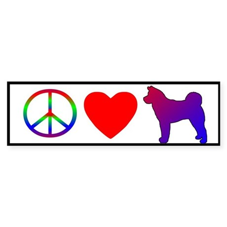 Peace, Love, Akita Bumper Sticker