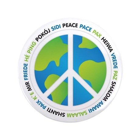 "World Peace Sign 3.5"" Button"