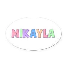 Mikayla Rainbow Pastel Oval Car Magnet