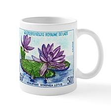 1974 Laos Lotus Flowers Postage Stamp Mug