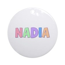 Nadia Rainbow Pastel Round Ornament