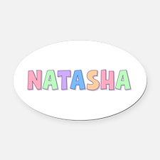 Natasha Rainbow Pastel Oval Car Magnet