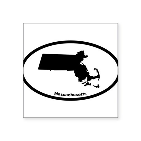 Massachusetts State Outline Oval Sticker