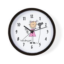 Stick Figure Hairdresser Wall Clock