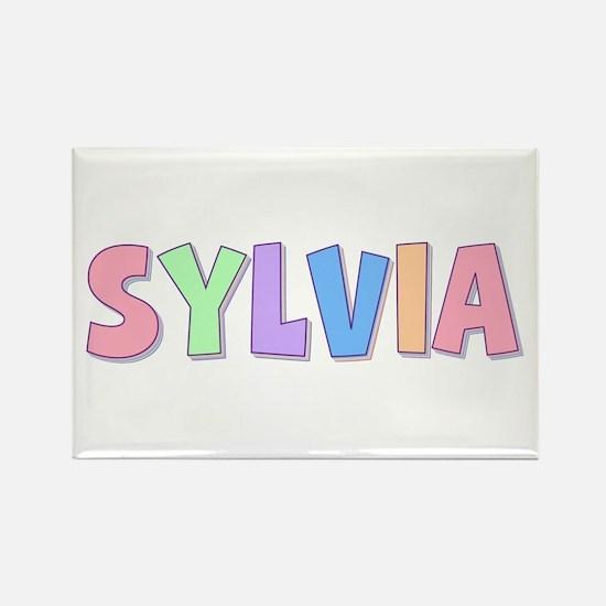 Sylvia Rainbow Pastel Rectangle Magnet