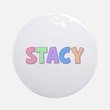 Stacy Rainbow Pastel Round Ornament