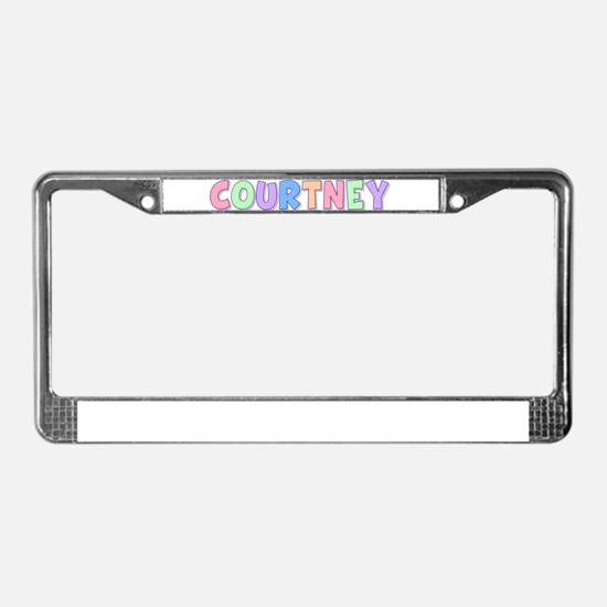 Courtney Rainbow Pastel License Plate Frame