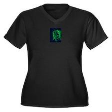 Cute Cyberpunk Women's Plus Size V-Neck Dark T-Shirt