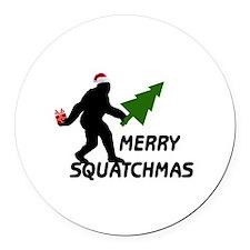 Merry Squatchmas Round Car Magnet
