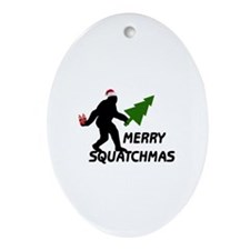 Merry Squatchmas Ornament (Oval)