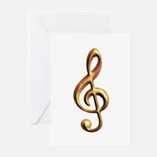 Gold treble clef Greeting Cards (Pk of 10)