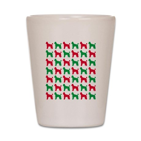 Poodle Christmas or Holiday Silhouettes Shot Glass