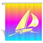 Colorful Sailboat Art Shower Curtain