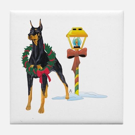 Doberman Holidays Tile Coaster