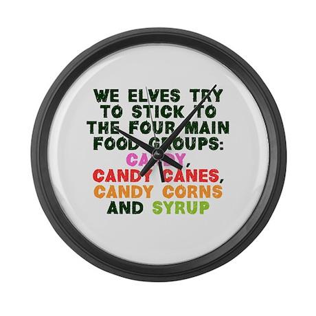 Four Main Food Groups Large Wall Clock