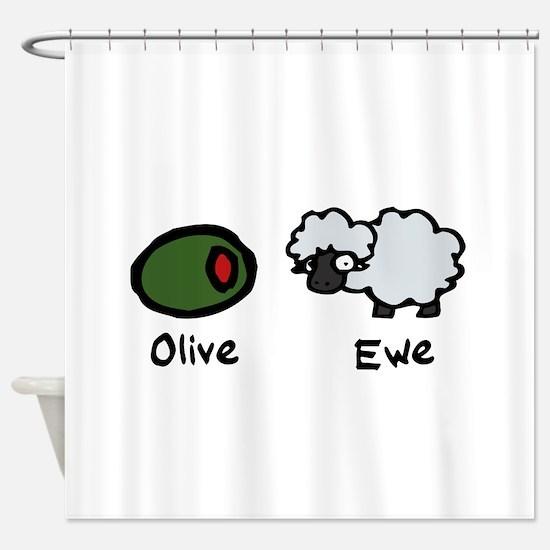 Olive Ewe Shower Curtain