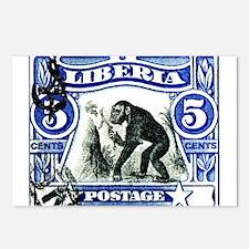 1906 Liberia Chimpanzee Postage Stamp Postcards (P