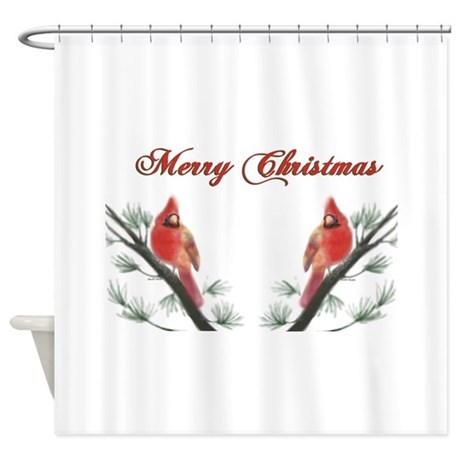 Merry Christmas Cardinal Shower Curtain by lorilei