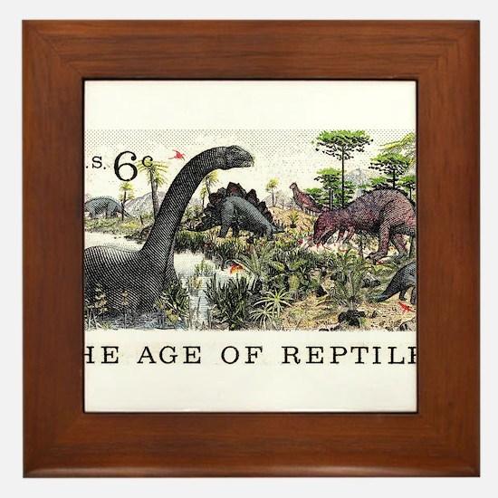 1970 U.S. Dinosaurs Postage Stamp Framed Tile