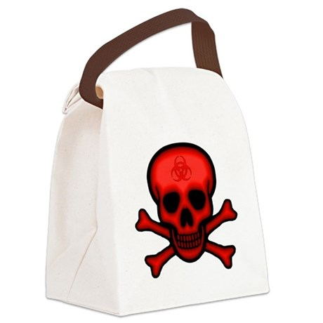 Red Biohazard Skull Canvas Lunch Bag
