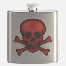 Red Biohazard Skull Flask