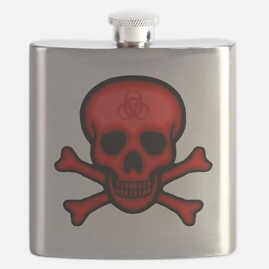 Red Biohazard Skull Flask