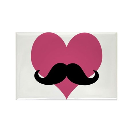 Heart Moustache Rectangle Magnet (10 pack)