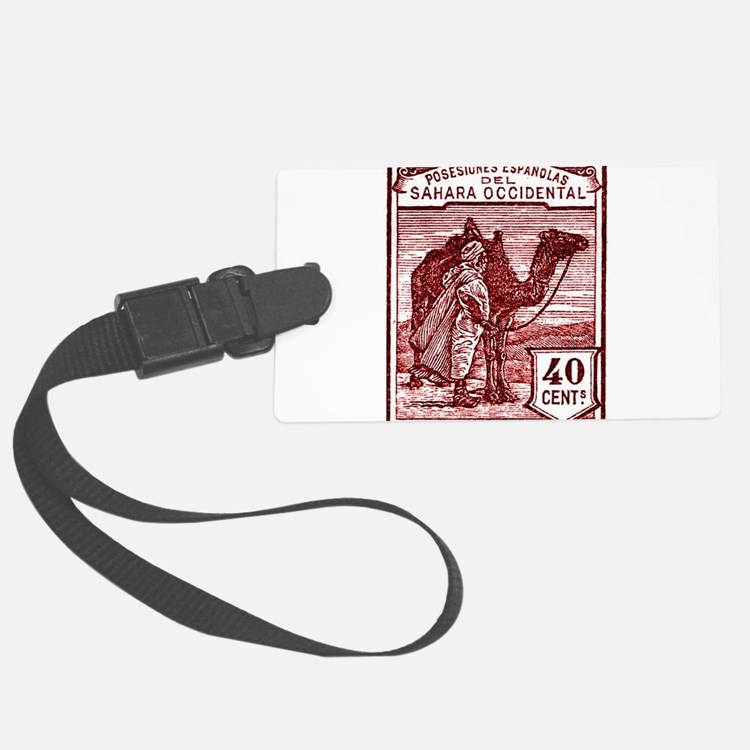 1924 Spanish Sahara Tuareg and Camel Stamp Luggage Tag