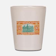 1929 Panama Mailman Postage Stamp Shot Glass