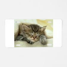 sleeping kitty Aluminum License Plate