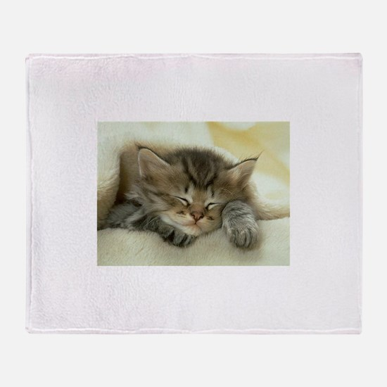 sleeping kitty Throw Blanket