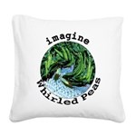 Imagine Whirled Peas Square Canvas Pillow