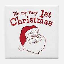 Retro 1st Christmas Tile Coaster