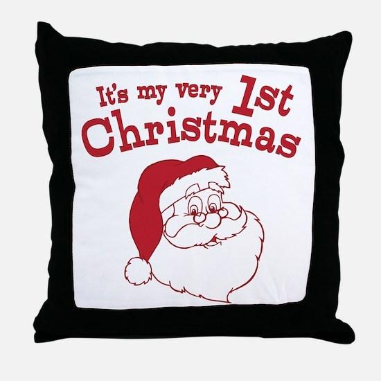 Retro 1st Christmas Throw Pillow
