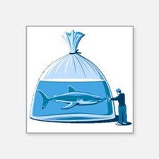 "Shark in a Bag Square Sticker 3"" x 3"""