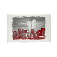 WTC Skyline Sketch Rectangle Magnet