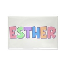 Esther Rainbow Pastel Rectangle Magnet