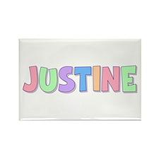 Justine Rainbow Pastel Rectangle Magnet