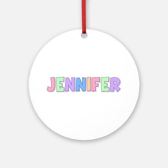 Jennifer Rainbow Pastel Round Ornament