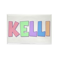 Kelli Rainbow Pastel Rectangle Magnet