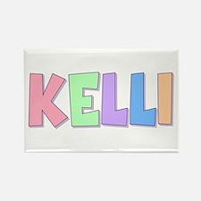 Kelli Rainbow Pastel Rectangle Magnet