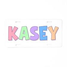 Kasey Rainbow Pastel Aluminum License Plate